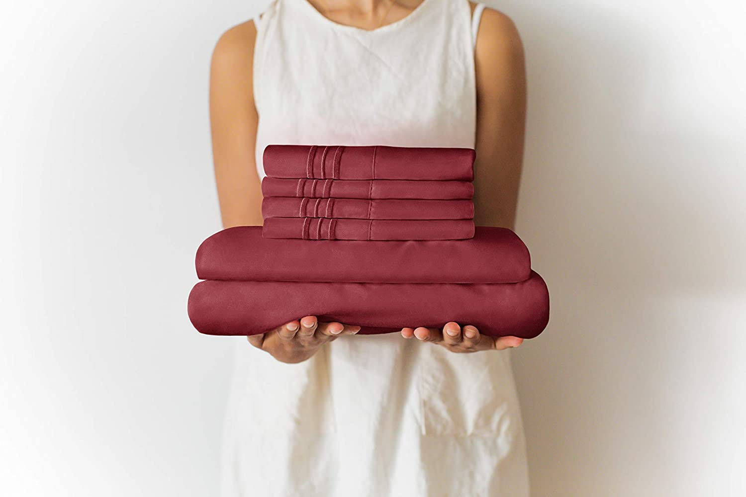 Full Size Sheet Set - 6 Piece Set - Hotel Luxury Bed Sheets - Extra Soft - Deep Pockets - Easy Fit - Breathable & Cooling Sheets - Wrinkle Free - Comfy - Burgundy Bed Sheets - Fulls Sheets - 6 PC: Home & Kitchen