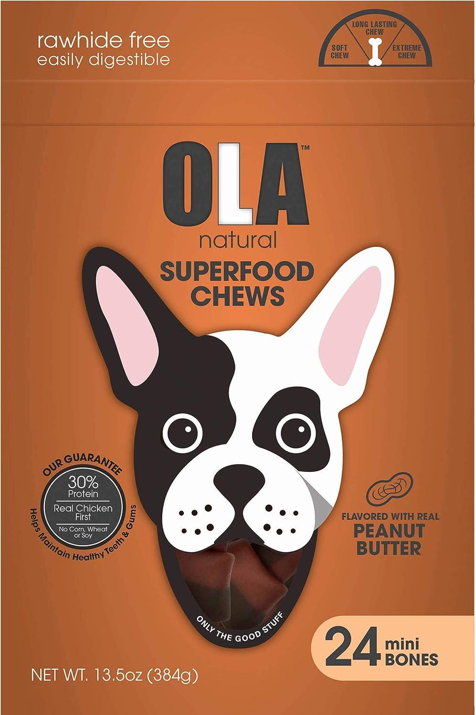 OLA Natural Superfood Chews Peanut Butter Mini Bones, 24ct