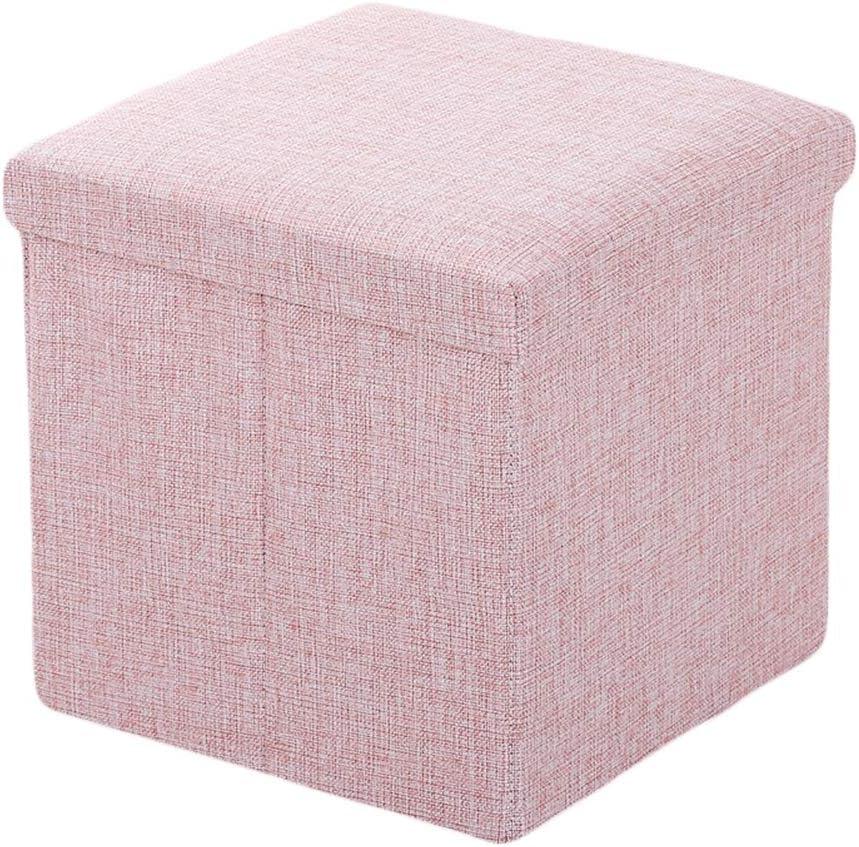 Ommda Polsterhocker Sitzhocker Sitzwürfel Wohnzimmer Couch mit Stauraum Klein Leinen Bezug Fußhocker Gepolstert belastbar bis 200 kg Rosa 30x30x30cm