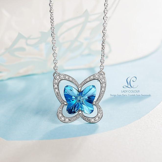 """施华洛世奇水晶制作的精美""""蓝蝴蝶""""项链2.5折"""