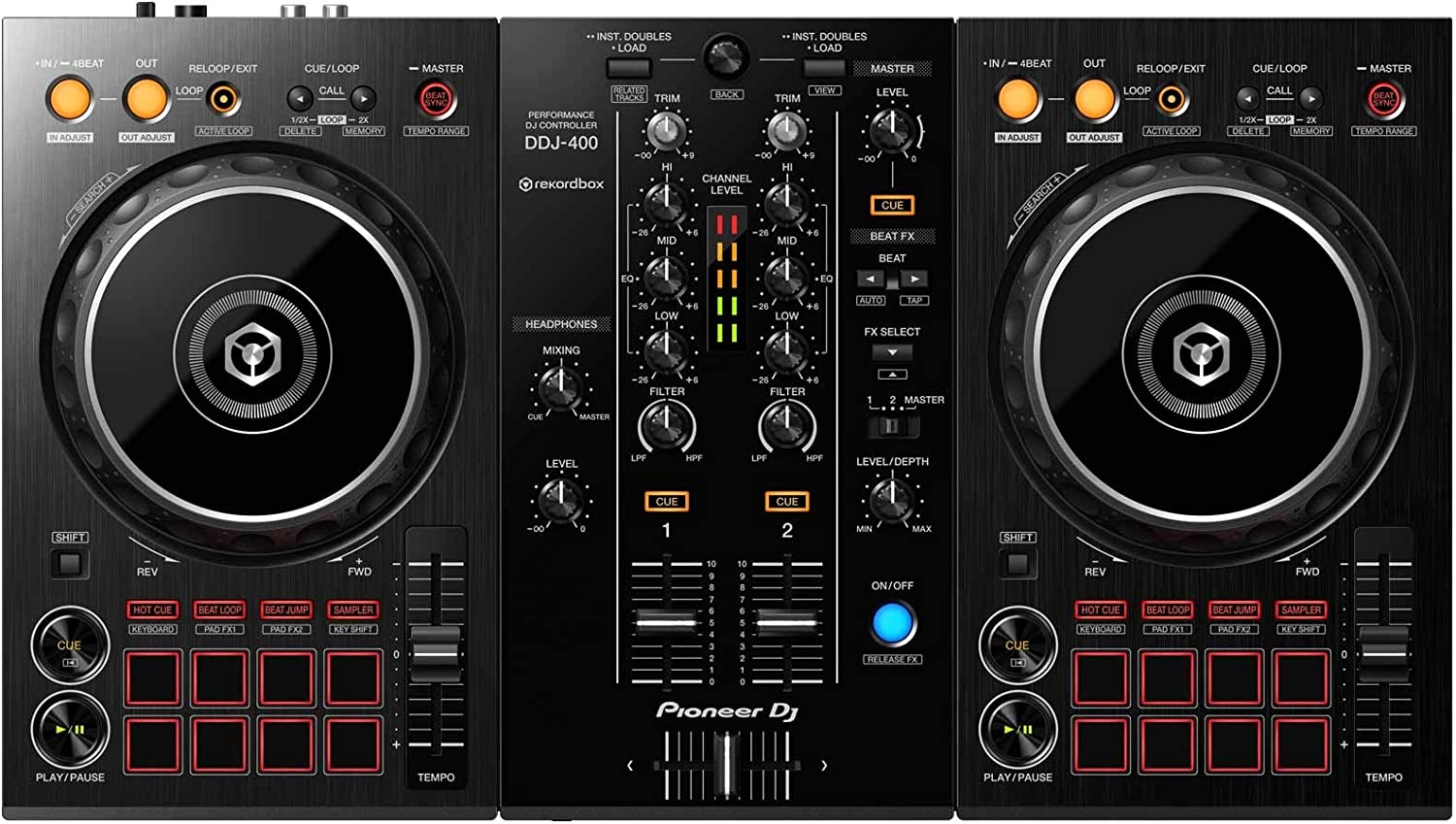 Pioneer DDJ-400 Rekordbox DJ Controller+Monitors Headphones DJ Starter Package