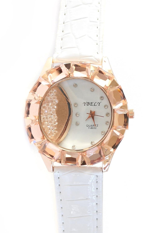 Blanco Cocodrilo Rhinestone Oro Rosa bandera mejor que patentes piel vegana reloj 6 3/4