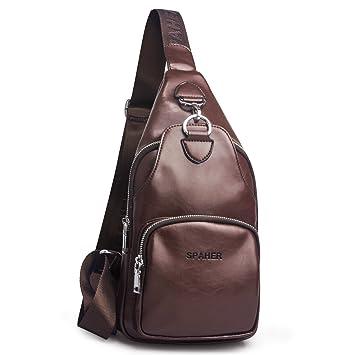 f49618ab392 SPAHER Bolso Bandolera Hombre Mochila de Pecho Piel Cuero Bolsa Bolsos de  Mochila Deportivo Bolsa Sling Crossbody Messenger Bag Daypack para Negocio  Deporte ...