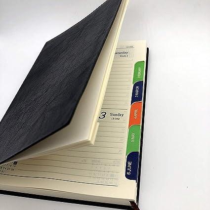 A5 Cuaderno Bonitos, Agenda 2019 Dia Pagina Libreta, Cuero Rayado Bullet Journal Notebook de Viaje Planificador Organizador Bloc Notas con Mes Tab ...