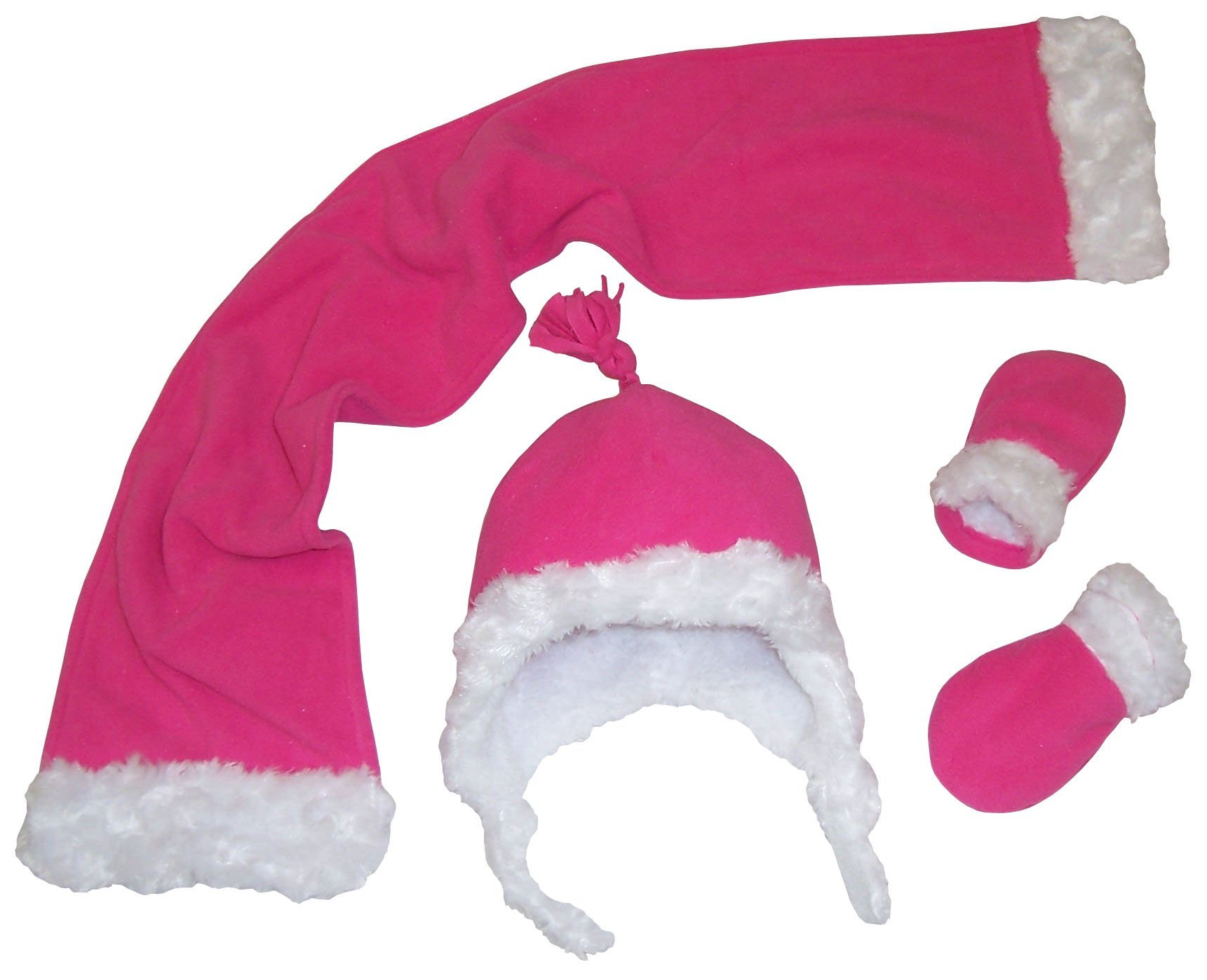 N'Ice Caps Girls Sherpa lined And Velboa Trimmed Micro Fleece 3Pc Set (Infant 12-18 Months, Fuchsia/White Infant)