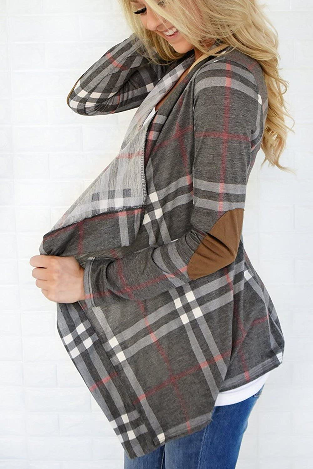 Women Casual Waterfall Open Front Plaid Cardigans Outerwear Grey S