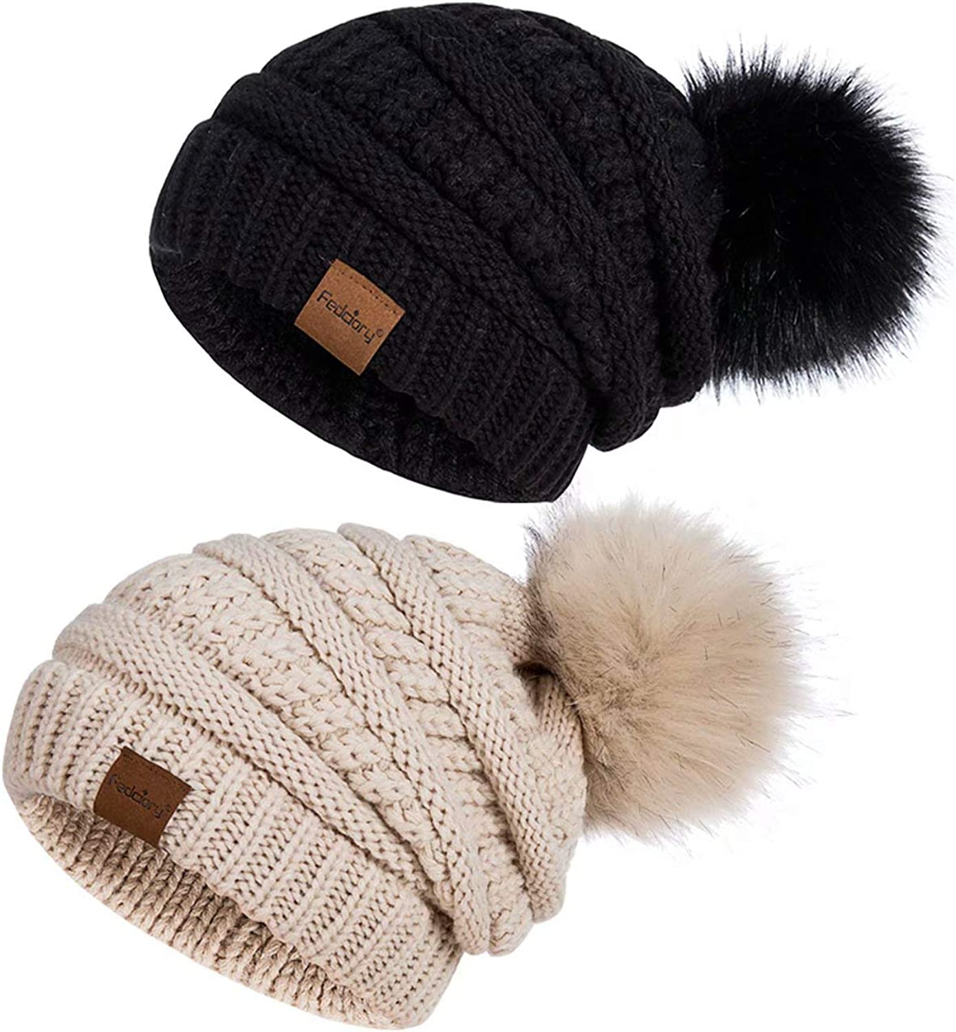 PAGE ONE Womens Fleece Lined Slouchy Beanie Chunky Baggy Hat Fur Pompom Winter Soft Warm Cap
