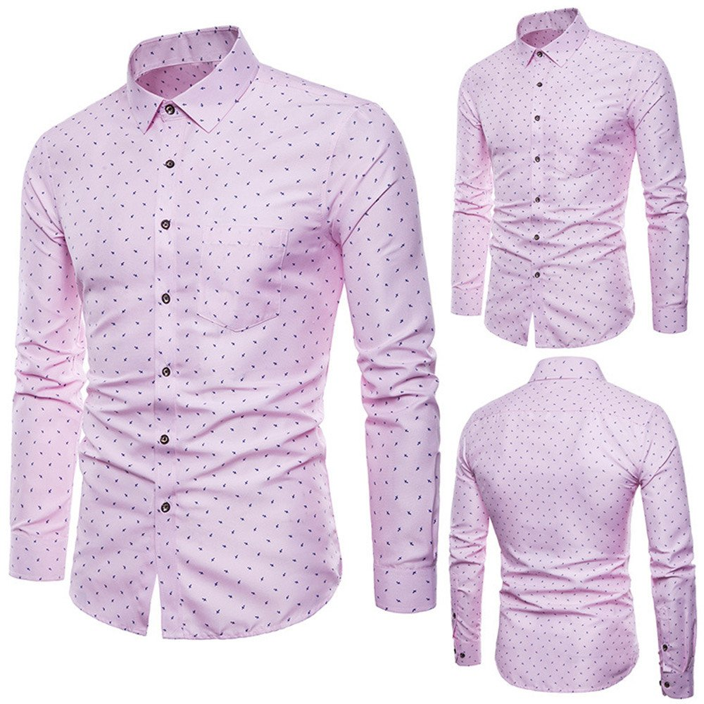 Mens Solid Slim Fit Long Sleeve Casual Dress Shirt Casual Fashion Top STORTO