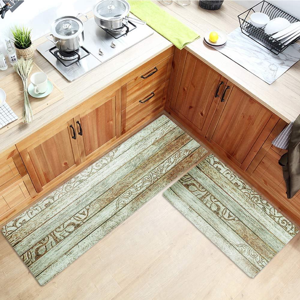 Kitchen Floor Comfort Mat Set Wood Pattern9, 9x9+9x9 HiiARug ...