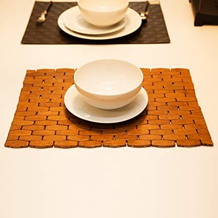 HANKEY Eco Friendly Bamboo Place Mats, Dining Mat, Decoration For Table,  Heat