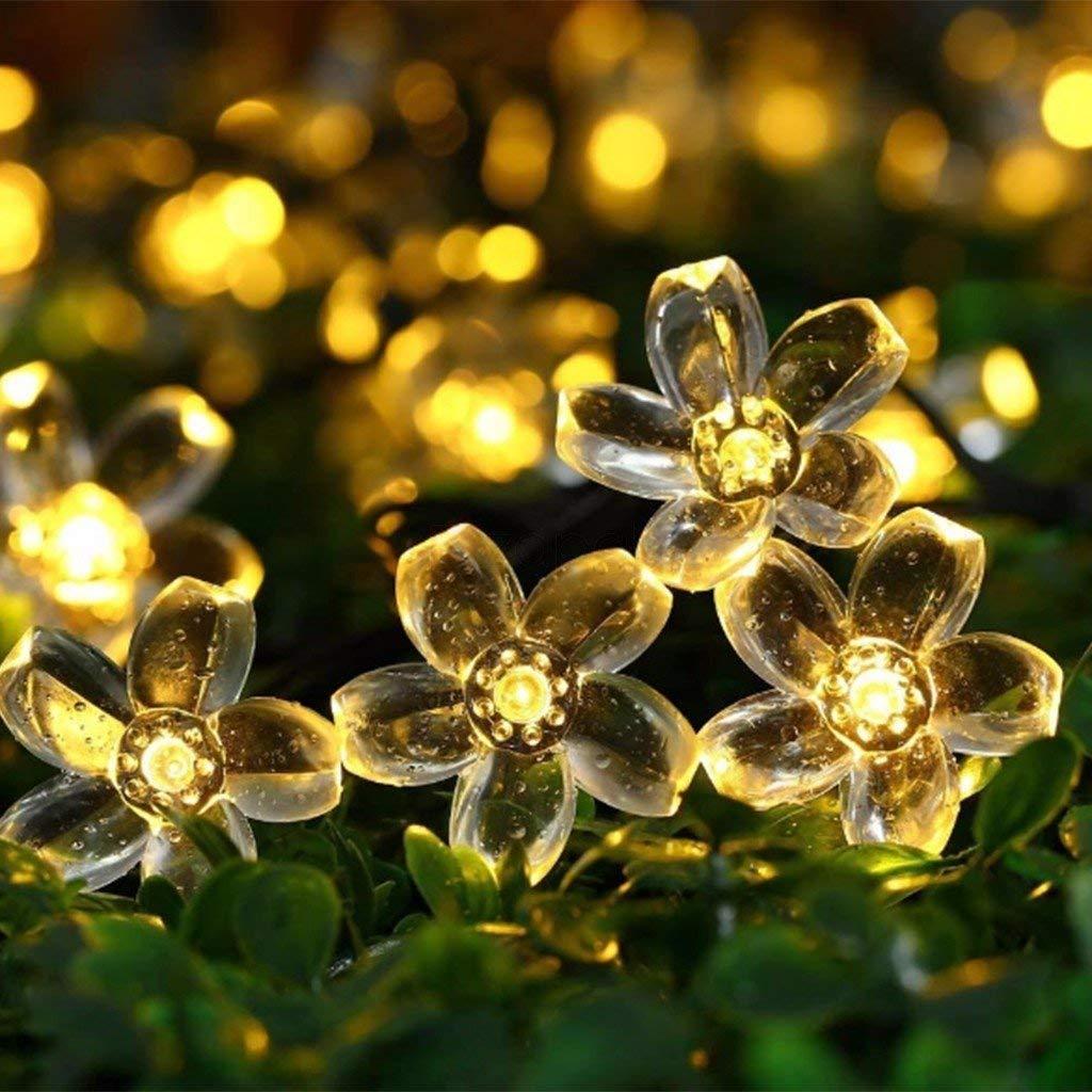 Solar Lichterkette Außen, TryLight 7M 50 Led Blumen Lichterkette lichterkette Aussen für Garten, Weihnachten, Party Balkon deko (Warmweiß)