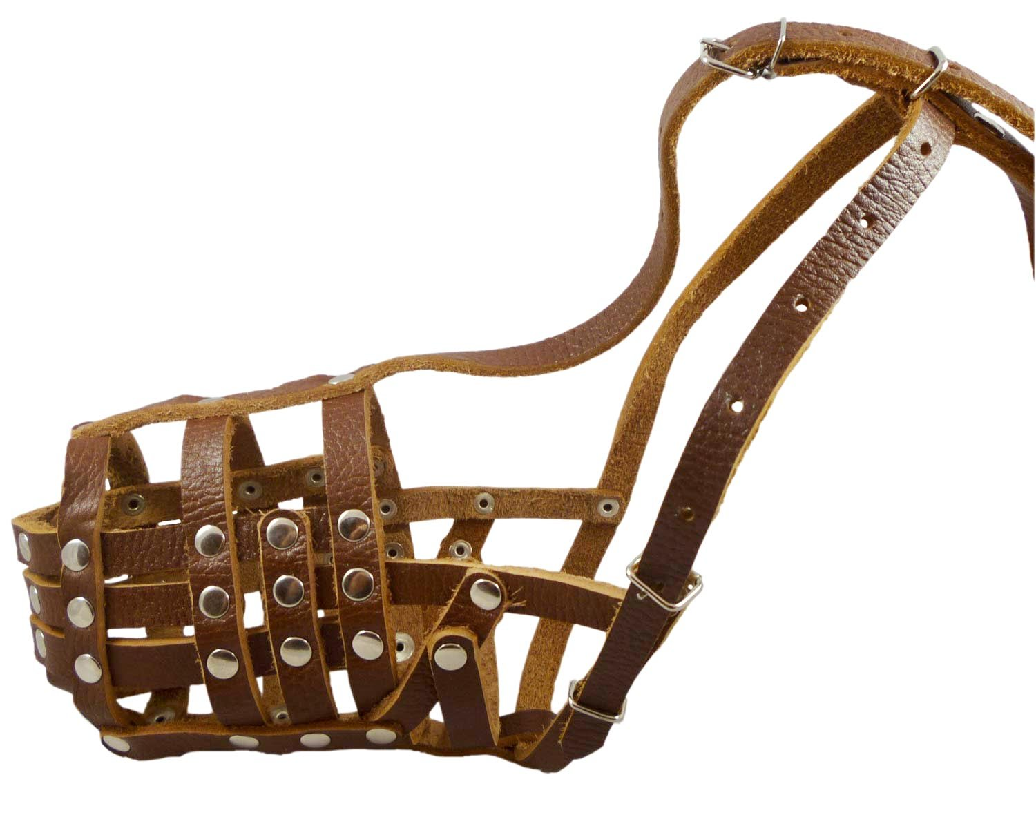 Secure Leather Mesh Basket Dog Muzzle #12 Brown - Doberman, Collie (Circumference 11.5'', Snout Length 5'')