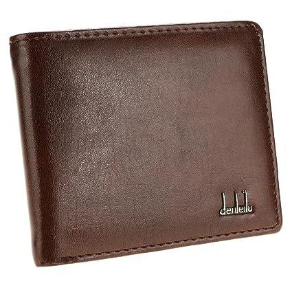 design senza tempo e82e0 606c1 Qulista Portafoglio Uomo Piccolo Classico con Portamonete Porta Carte di  Credito in Formato Orizzontale 11 x 9.5 cm (marrone)