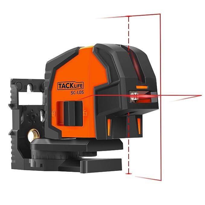 Nivel Láser 30m profesional,Tacklife-SC-L05,2 Puntos de plomada,Línea vertical,horizontal y nivelación automática,gran ángulo de 130 grados,con una placa de ...
