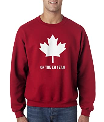 05902a60ee3a Eh Team Canada Sweater Funny Canadian Shirts Novelty Hilarious Crew Neck  (Red) - S. Roll over image to ...
