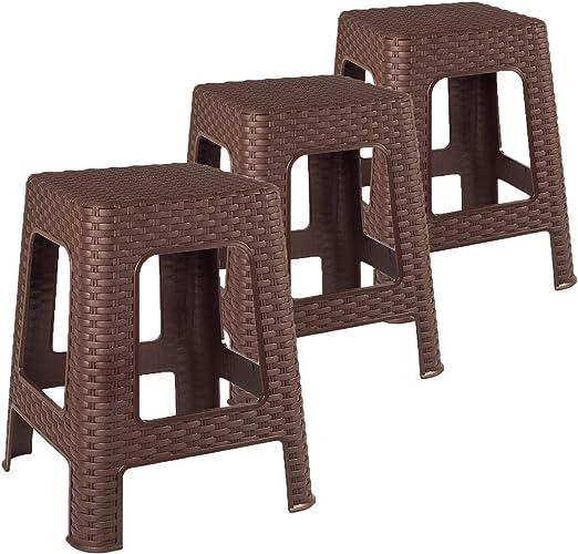 F&S - Taburetes de plástico con aspecto de ratán, 3 unidades, para jardín, camping, terraza, balcón, niños, color marrón: Amazon.es: Hogar