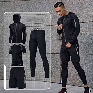 Men fitness suit Mens 4pcs Sports Gym Fitness Clothing Set Hoodies Jackets+Base Layers T Shirts+Loose Fitting Shorts+Compression Pants For Workout Training Running Tracksuits Men Weight Loss Shirt Wor