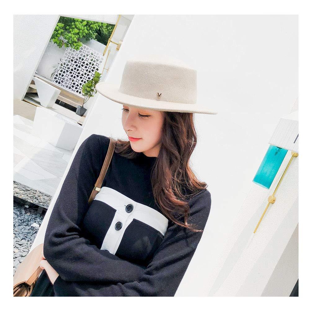 For women's hats 2019 New Brand Timber Fedora Matt Top White Wool Felt Hats Ladies Autumn Winter Vintage Trilby Men Women Hat (Color : Pink red, Size : 56-58cm)