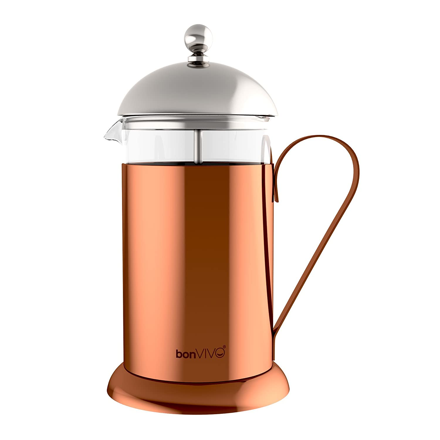 bonVIVO GAZETARO II French Press Coffee Maker, Stainless Steel Cafetiere With Glass Jug, Coffee Plunger With Filter, Manual Coffee Maker With Copper Finish, Coffee Press In Large (34 oz/1.0 l /1,000ml) Bonstato