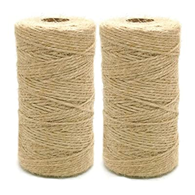 VBEST Natural Jute Rope, Christmas Twine Cotton String Baker Twine for Gardening, DIY Arts Crafts, Christmas Gift Wrapping, 2 Rolls/656 Feet (Brown, 2MM) : Office Products