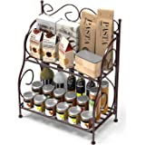 Kundi 2-Tier Foldable Wrought and Cast Iron Spice Shelf Rack Kitchen Bathroom Countertop Storage Organizer (Brown)