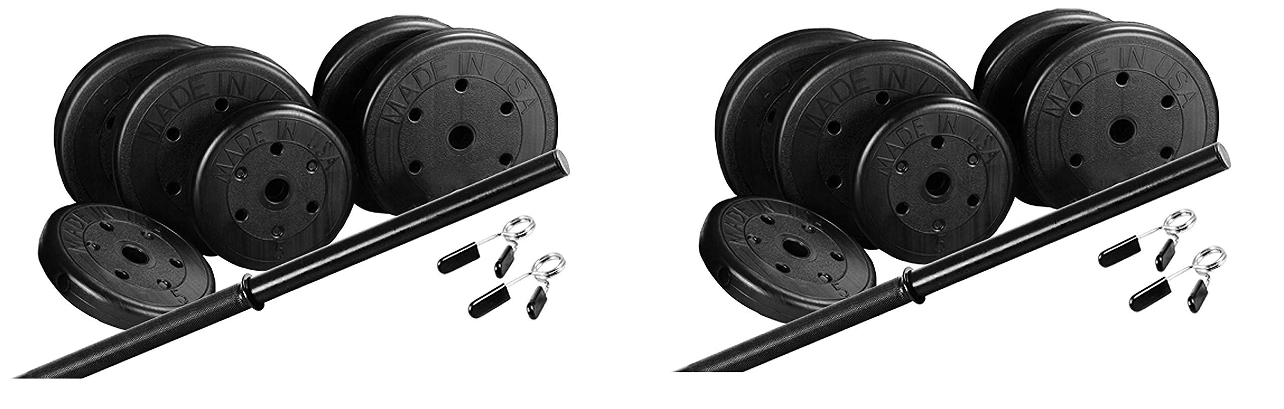 US Weight Duracast 55 lb. Barbell Weight Set with Two 5 lb. Weights, Four 10 lb. Weights, One 4 lb. Two-Piece Threaded Barbell Bar, Two Locking Spring Clips (Twо Расk)