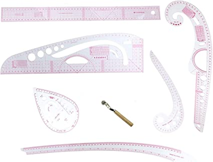 7 Pieces French Metric Ruler with Plastic Measure Sewing Tools for Sewing Dressmaking Pattern Design Grading Bendable DIY Clothing Drawing Template Supplies DIY Sewing Ruler Tailor Set