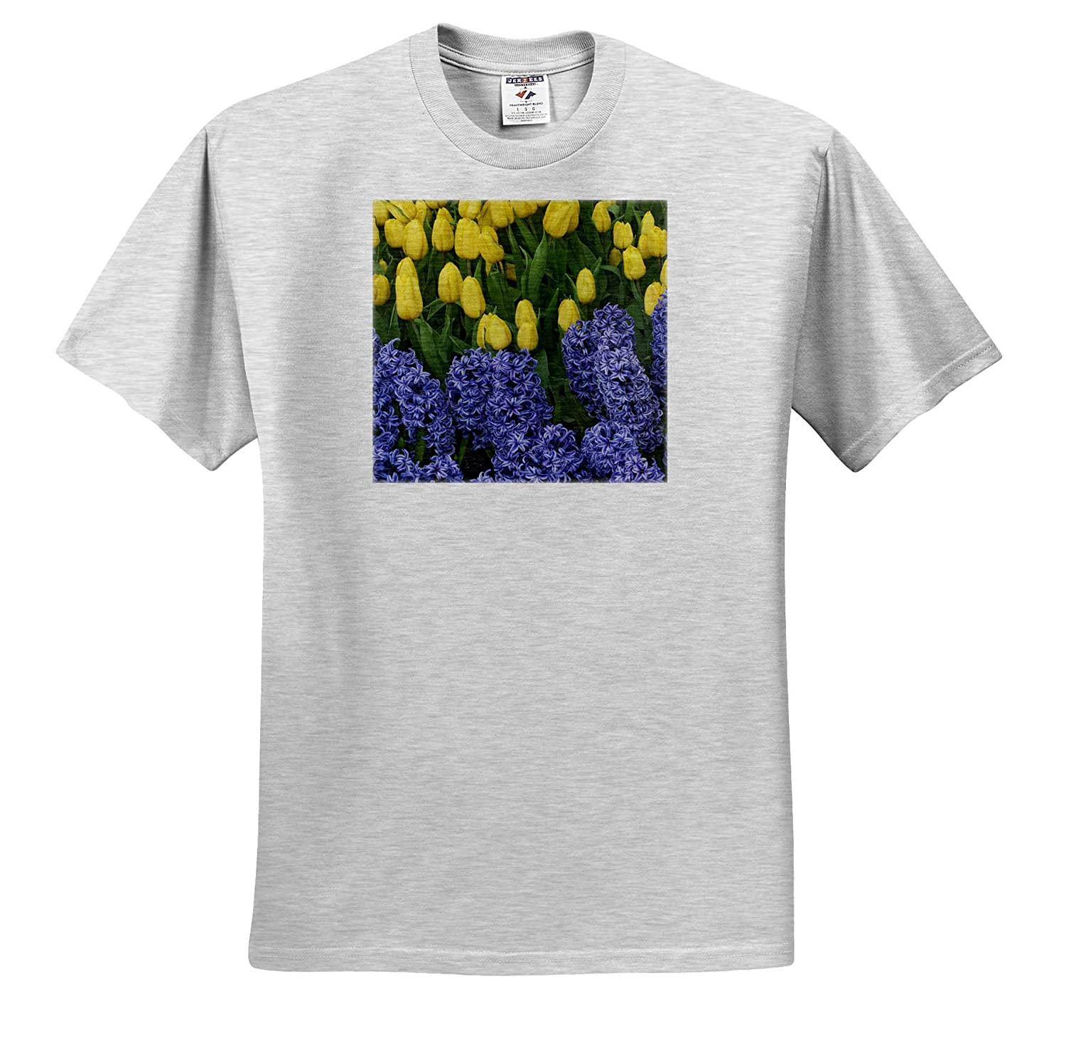 - Adult T-Shirt XL Hyacinth and Yellow Tulips in Garden Flowers ts/_314930 3dRose Danita Delimont