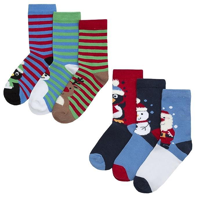 Calcetines navideños para niños, de la marca Zest 6 Pack Red Stripe Mix 23-26: Amazon.es: Ropa y accesorios