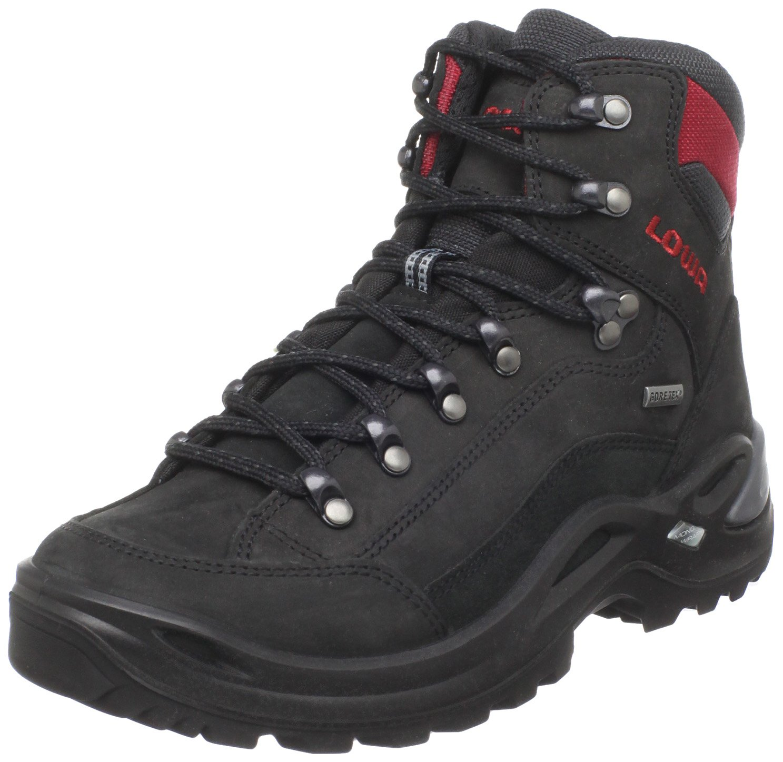Lowa Women's Renegade GTX Mid Hiking Boot B0042AND1C 9 B(M) US|Black/Red