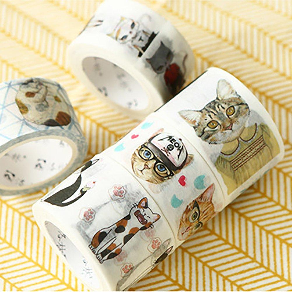 Lovely Cartoon Cat Adhesive Washi Tape DIY Scrapbooking Card Decorative Tape Sticker (2#) by mosichi (Image #4)