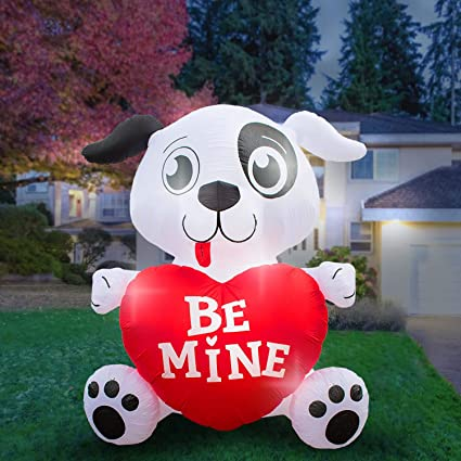 48d704e03912d Holidayana 8 Foot Inflatable Dog with Heart Decoration, Outdoor Yard Decor,  Includes Built-in Bulbs, Tie-Down Points, and Powerful Built in Fan