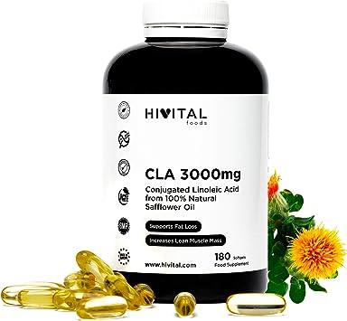 CLA Ácido Linoleico Conjugado 3000 mg por dosis | 180 perlas de Aceite Vegetal de Cártamo (Suministro para 2 meses) | Para Perder peso, Aumentar la musculatura, Quemar grasa y Adelgazar.: Amazon.es: