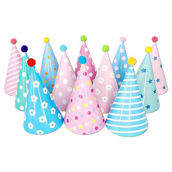 Gorros de fiesta de cumpleaños con Pompones, 12 Piezas.
