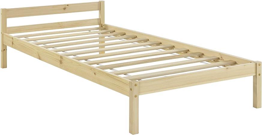 en.casa Marco única verdadera cama de madera de pino con cabecera con los listones para Natural Madera Color 90x200 cm: Amazon.es: Hogar