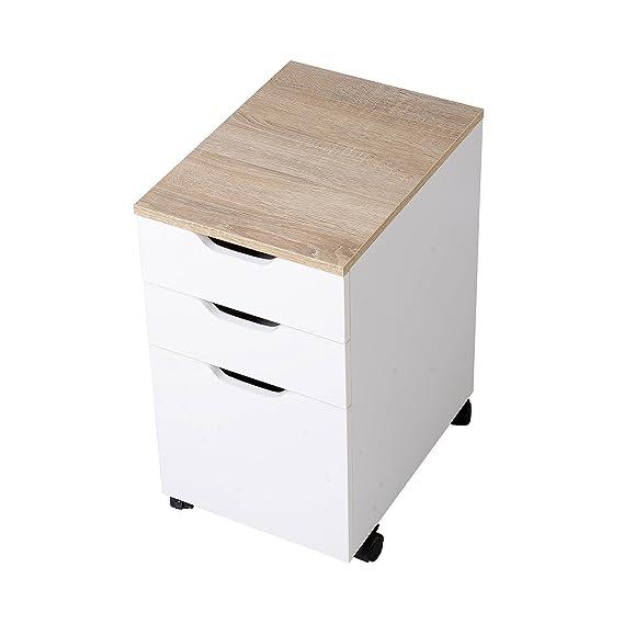HomCom Cajonera Tipo Archivador Móvil para Organizar Documentos en Oficina o Hogar - Color Blanco - 40 x 35 x 60cm