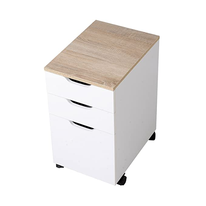 HomCom Cajonera Tipo Archivador Móvil para Organizar Documentos en Oficina o Hogar - Color Blanco - 40 x 35 x 60cm: Amazon.es: Hogar