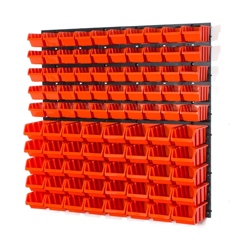 Panel organizador 4 paneles 90 cajas apilables con abertura frontal color naranja