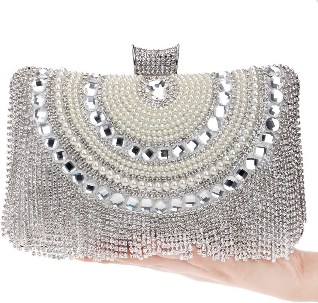 LXYFMS Fringe Dinner Women's Bags Upscale Party Bags Evening Bags Dinner bag (Color : Blue) Silver