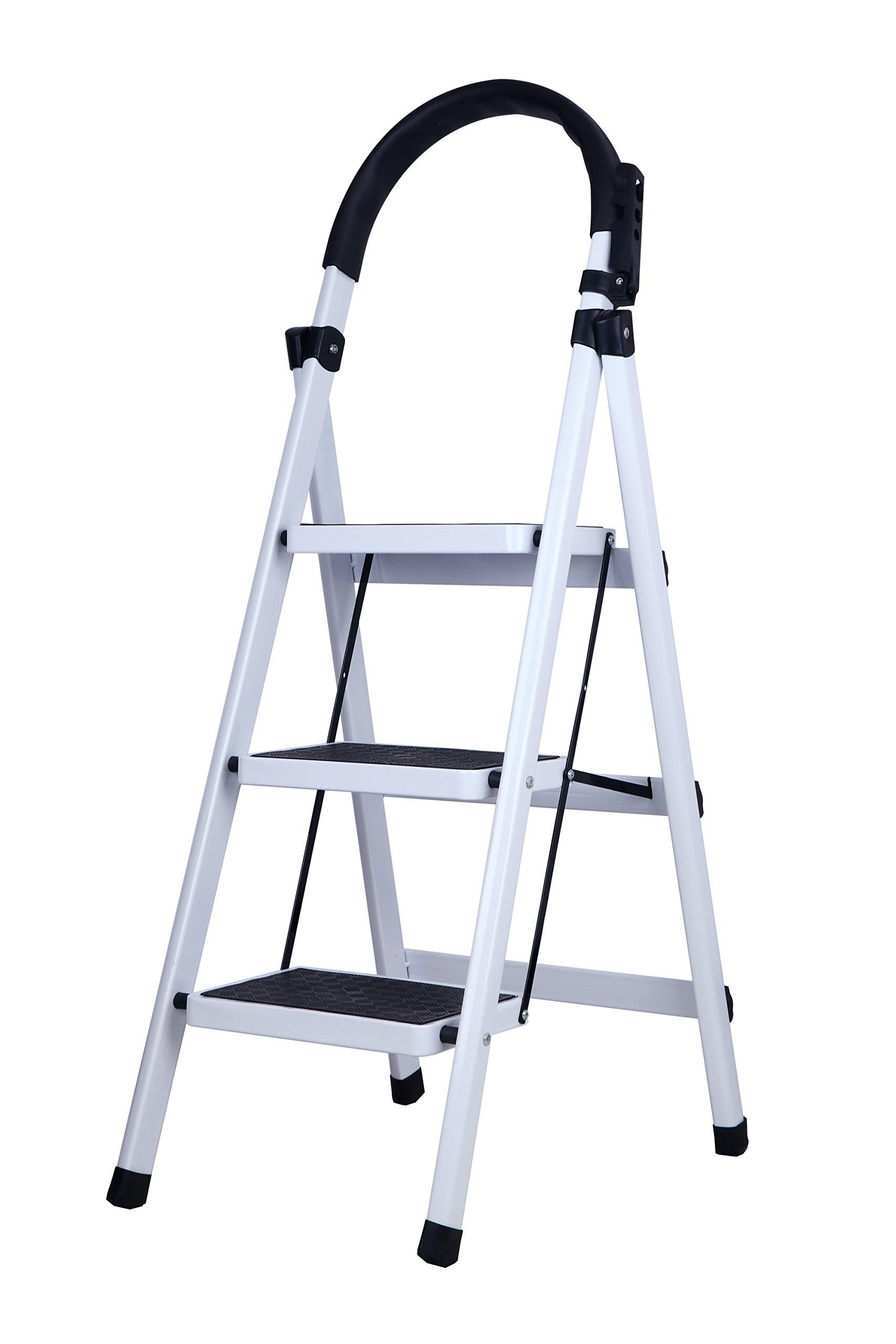 Household Folding 3-Step Steel Frame Stool Platform Ladder with Plastic Cushion Handgrip & Anti-Slip Sturdy Wide Pedal Portable Steel Step Stool White Ladder (3 Step)