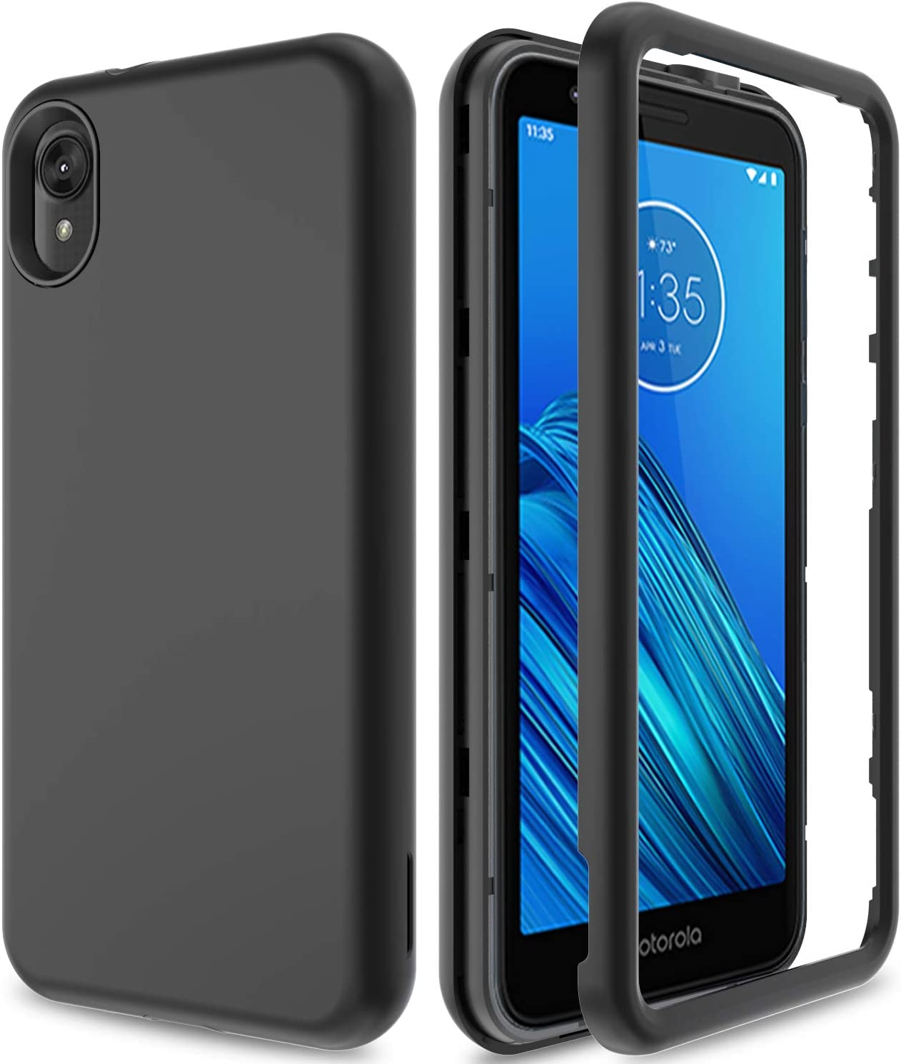 AMENQ Case for Motorola Moto E6, Moto XT2005DL Case, Three Layers Full Body Heavy Duty Shockproof TPU Bumper and PC Armor Hard Protective Phone Cover for Moro E 6th Gen 5.5 2019 (Black)