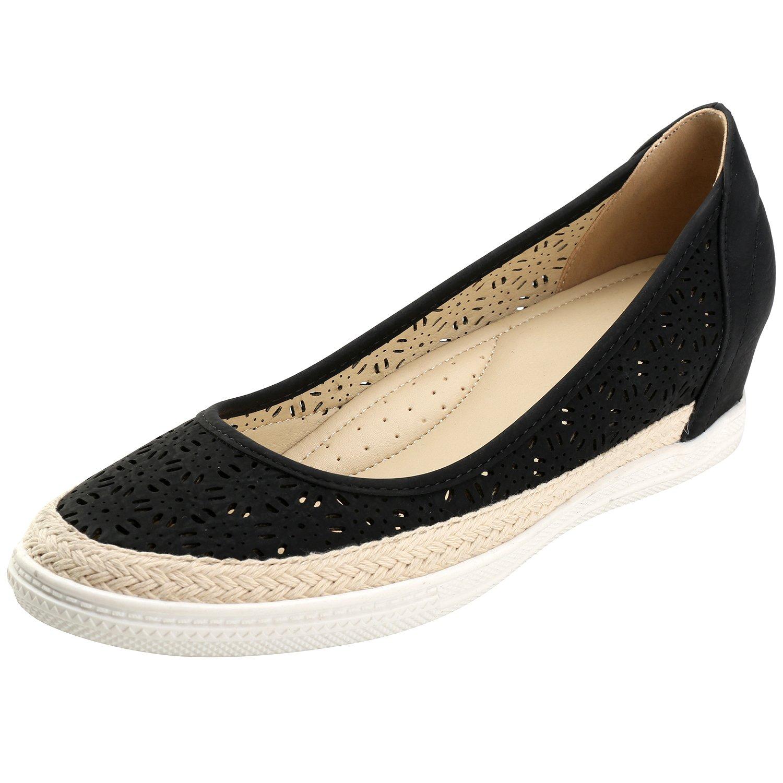 Alexis Leroy Cutout Round Toe Flower Breathable Women's Espadrille Shoes B01MU59EXM 38 M EU / 7-7.5 B(M) US|New Black