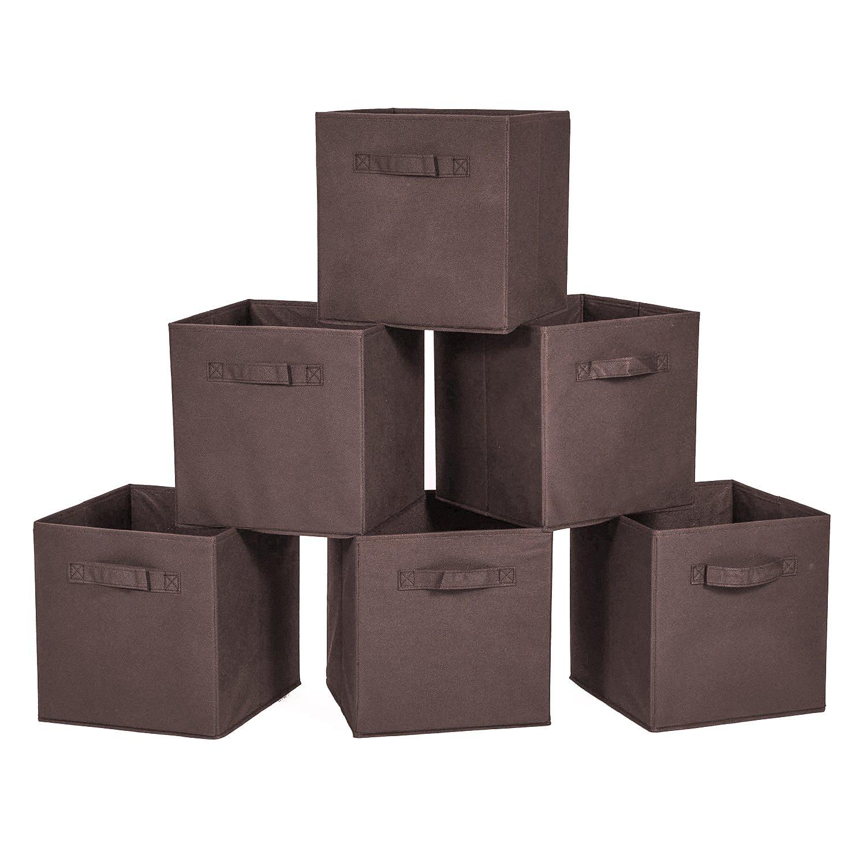 MaidMAX Cloth Storage Bin Dual Handles Home Closet Nursery Drawers Organizer, Foldable, Beige, 10.5×10.5×11″, Set of 6 903008