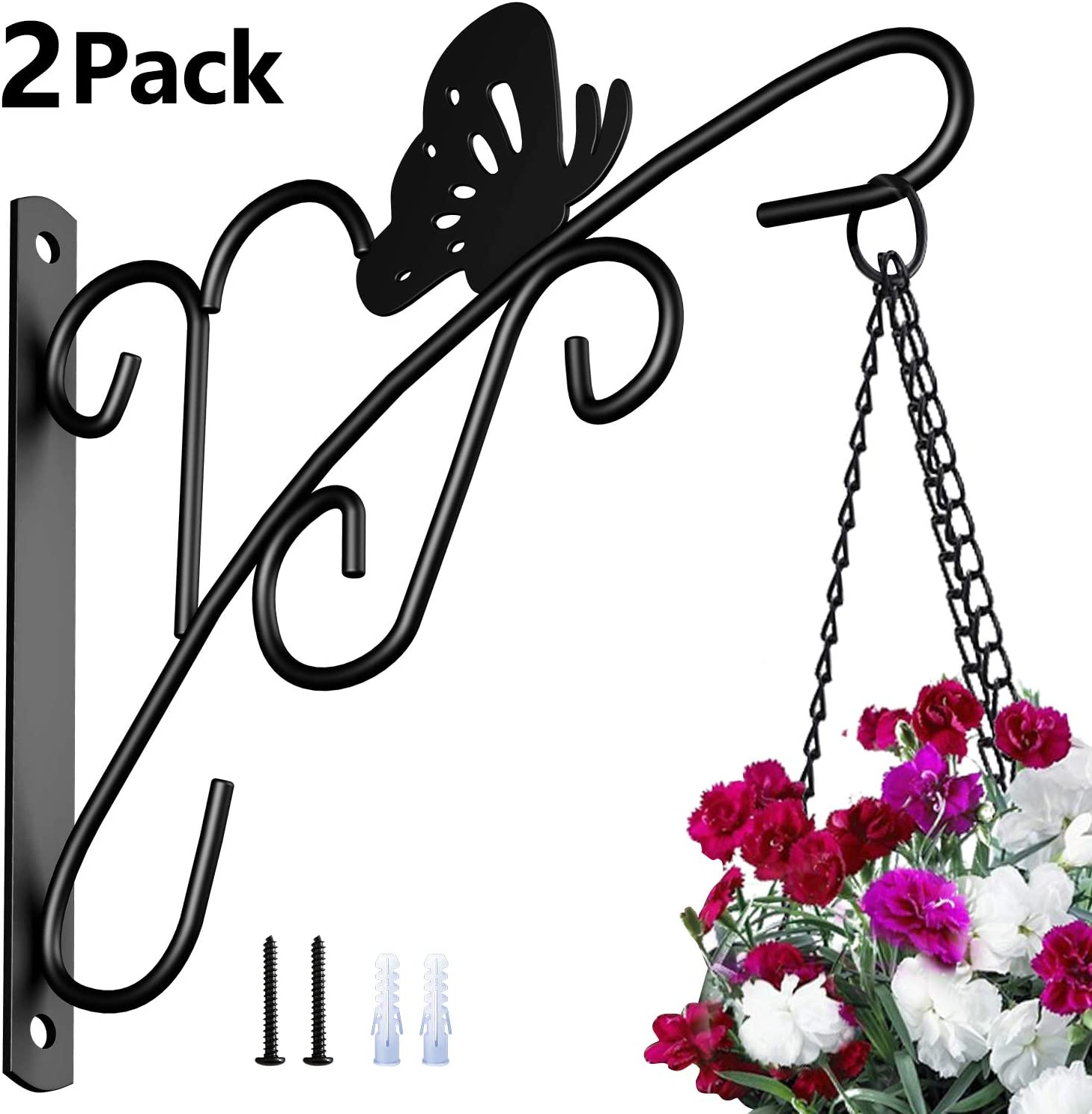 Amagabeli 2 Pack Hanging Plants Bracket 11'' Wall Planter Hooks Hangers Flower Pot Bird Feeder Wind Chimes Lanterns Patio Lawn Garden for Outdoor Indoor Fence Screw Mount against Door Arm Hardware