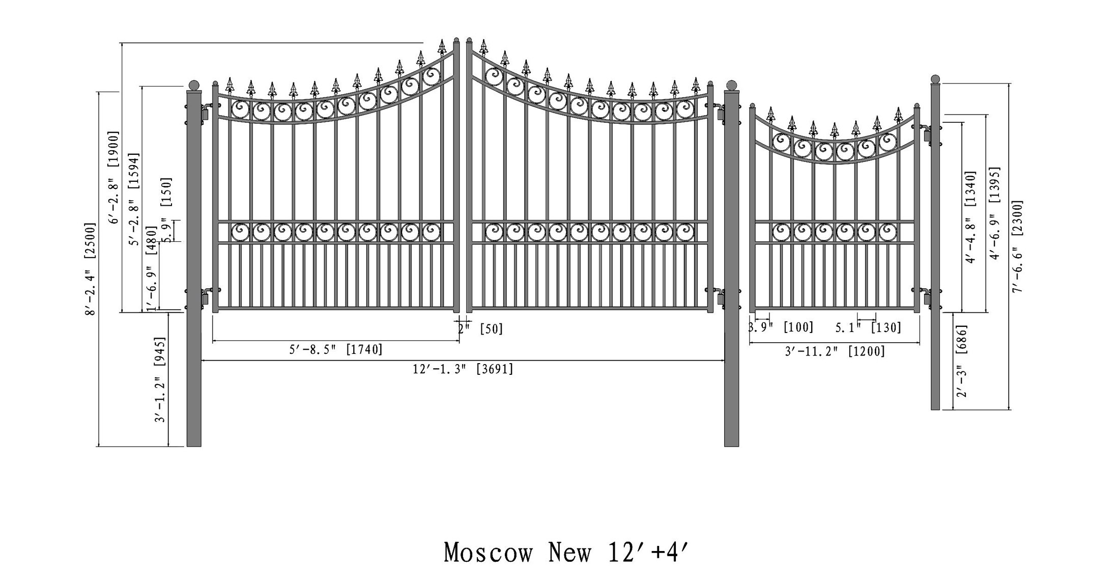 ALEKO Moscow Style Iron Wrought Gate Driveway Gates Ornamental Dual Swing Gates with Pedestrian Gate 4 Ft (12 Ft)