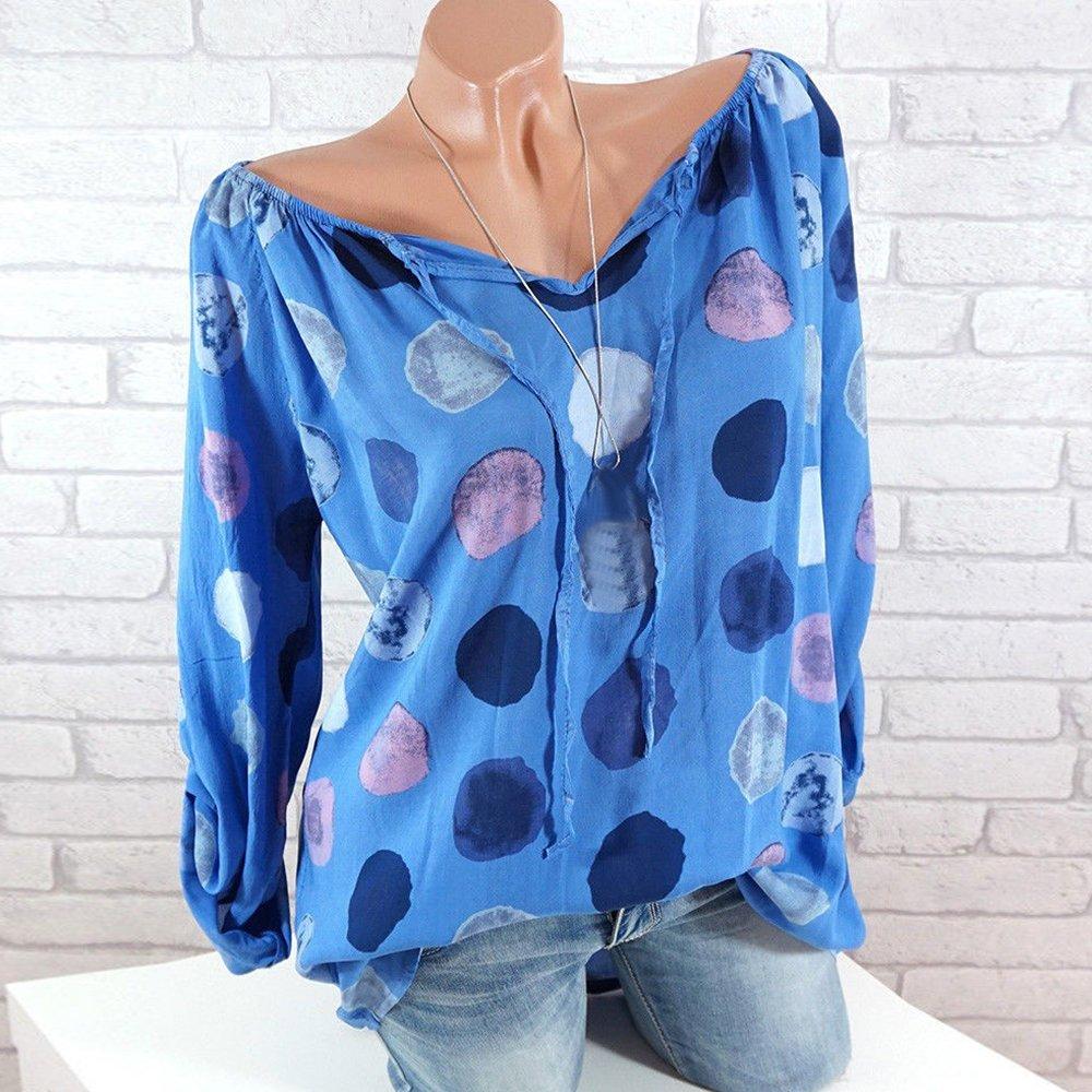 5bd045ce39e04 Decha T-Shirt Pois Imprimé Sexy Tee-Shirt Femme Top Chemise Chic Manches  Longues Agrandir l'image