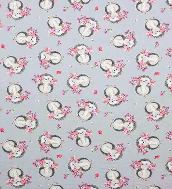 Flannel Hedgehog Gray Background Lime Green Animals ~ All Over Design Blue 1 Yard Cut  100/% Cotton ~ Colorful Pink Red