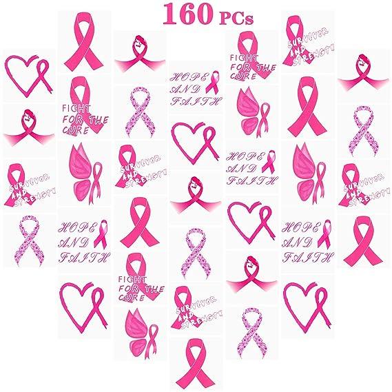 Amazon Com 160 Pcs Pink Ribbon Tattoos Breast Cancer Awareness