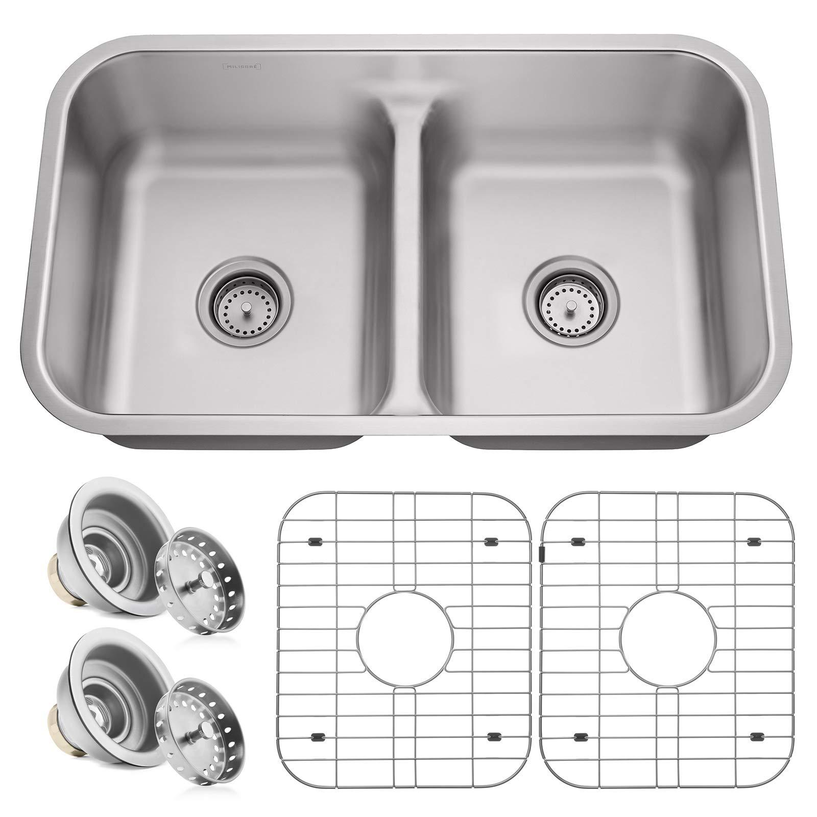 Miligore 32'' x 19'' x 9'' Deep Double Bowl (50/50 Low Profile Split) 16-Gauge Stainless Steel Kitchen Sink - Includes Drains/Grids