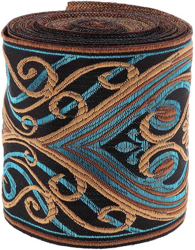 3cm IPOTCH 5 Meters Blue Sari Trim Jacquard Trim Ribbon Suitable for Decoration of Bedding Home Furnishings